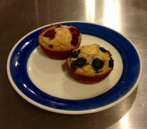 Blueberry and Raspberry Cashew muffins